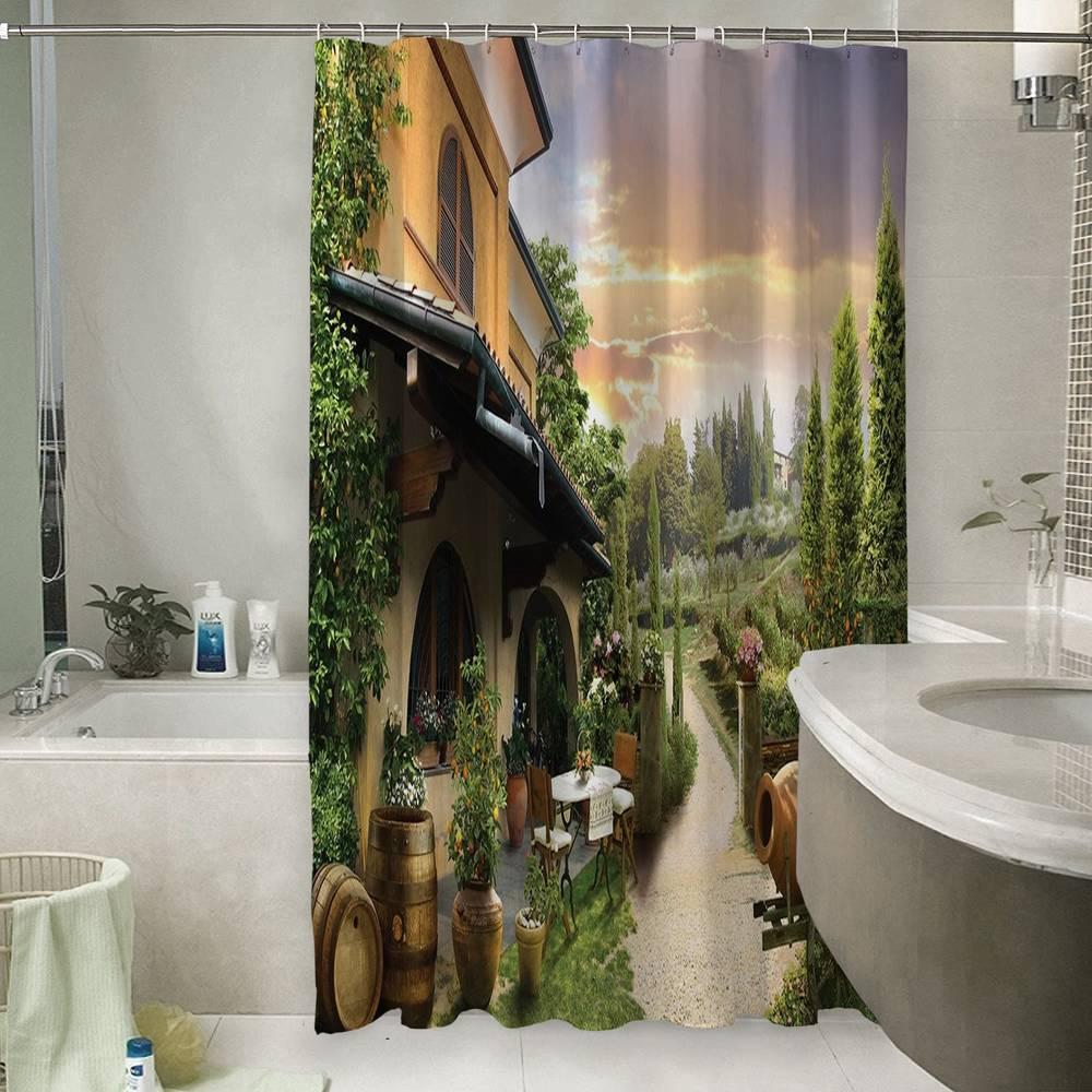 Штора для ванной «Домик в Италии»