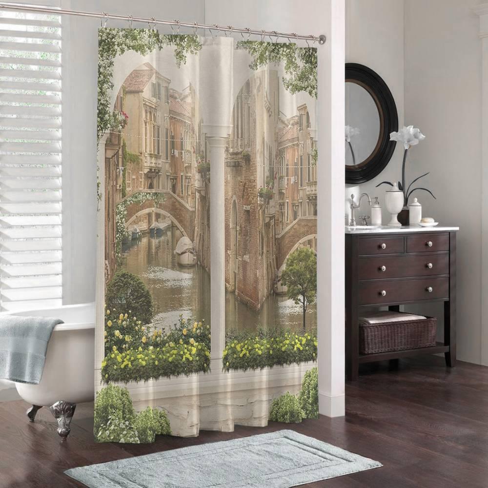 3D занавеска в ванную комнату «Колонны с видом на канал» вид 3