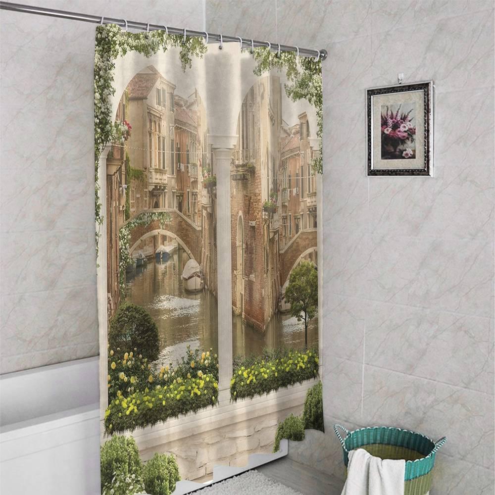 3D занавеска в ванную комнату «Колонны с видом на канал» вид 4