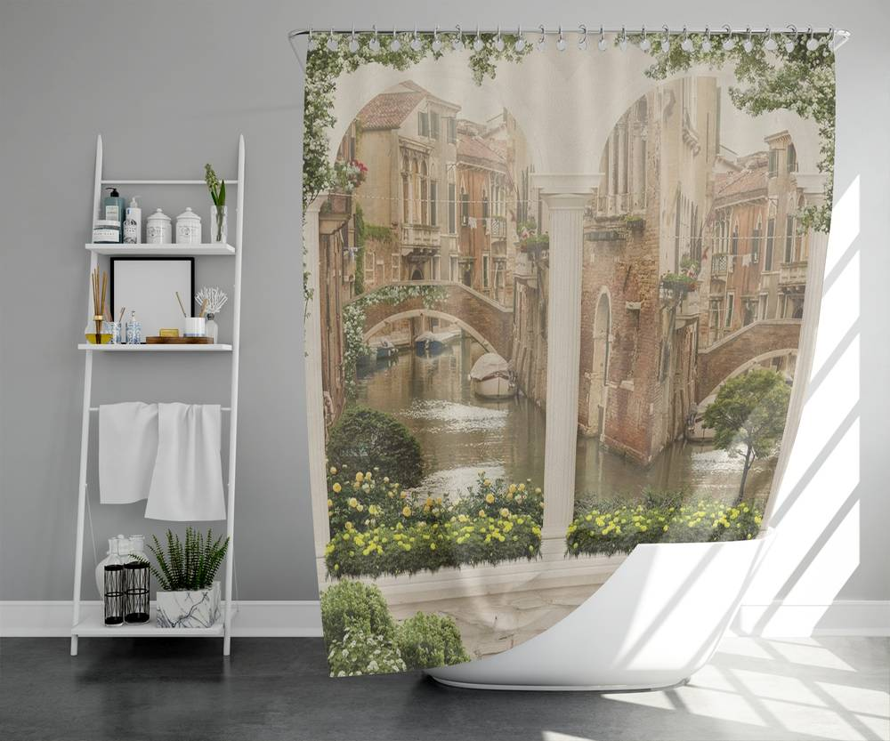 3D занавеска в ванную комнату «Колонны с видом на канал» вид 5