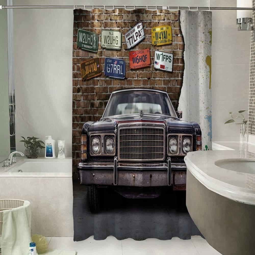 3D фотоштора для ванной «Старый форд»