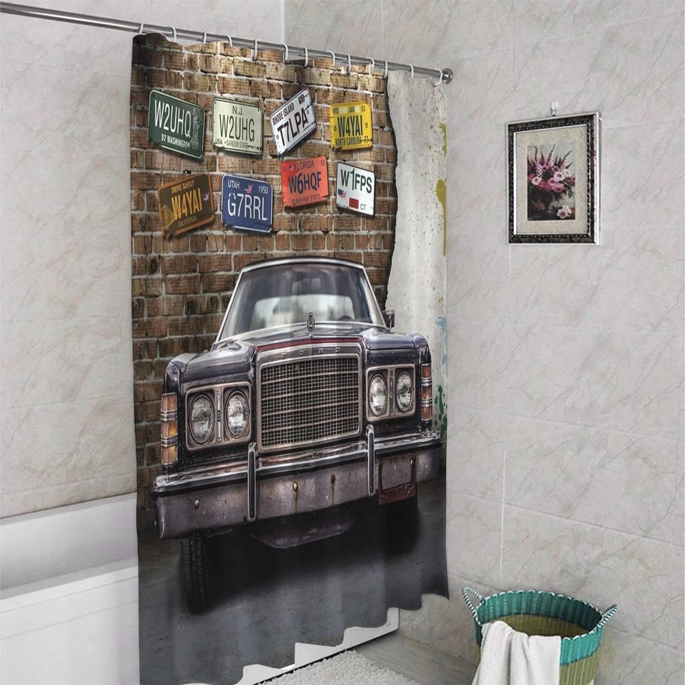 3D фотоштора для ванной «Старый форд» вид 4