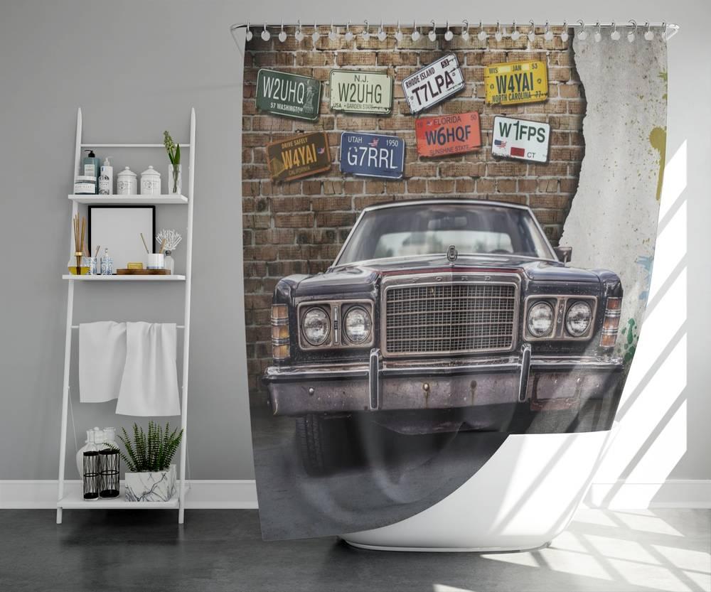 3D фотоштора для ванной «Старый форд» вид 5