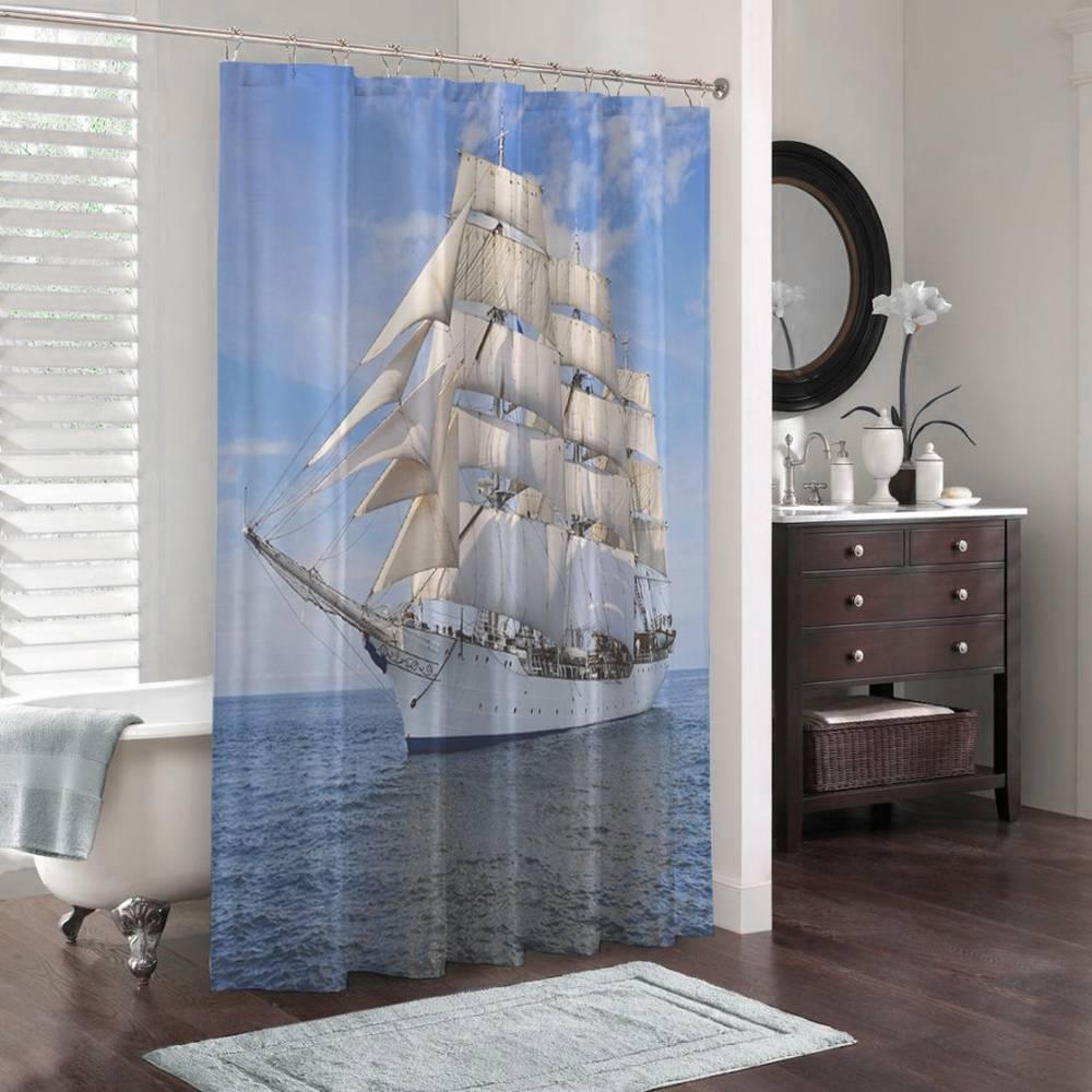 3D штора для ванной «Белый парусник» вид 3