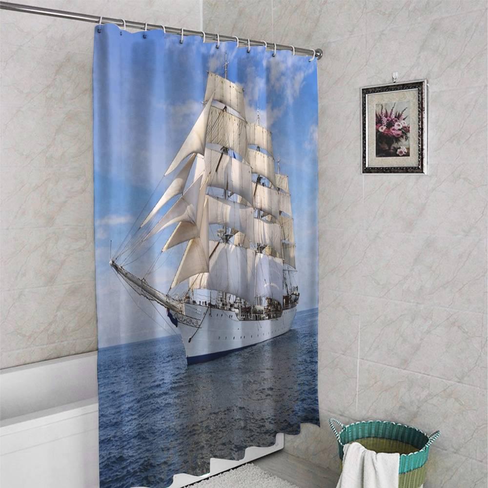 3D штора для ванной «Белый парусник» вид 4