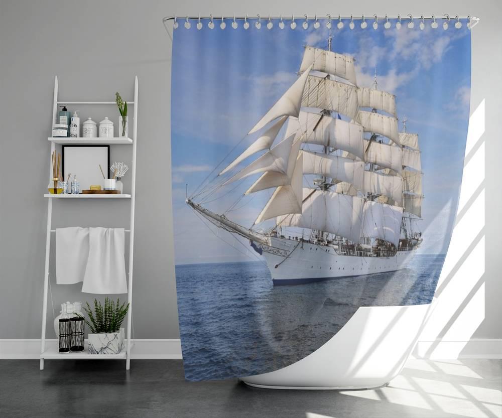 3D штора для ванной «Белый парусник» вид 5