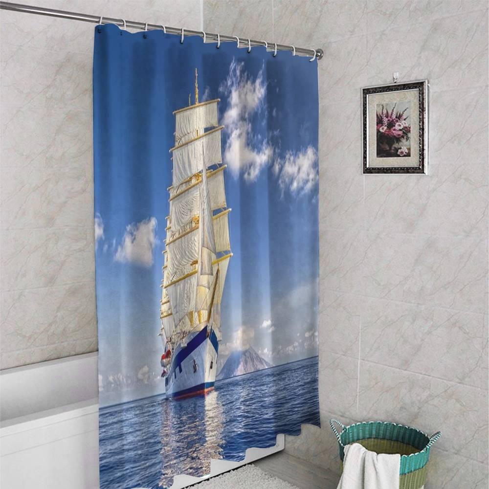3D штора в ванную комнату «Корабль в море» вид 4