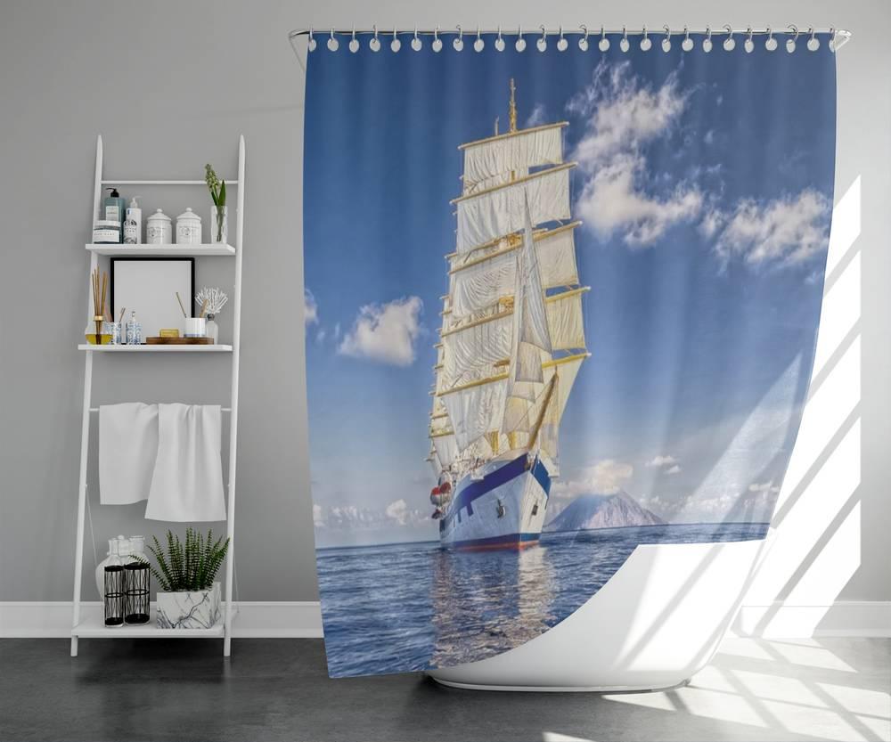 3D штора в ванную комнату «Корабль в море» вид 5