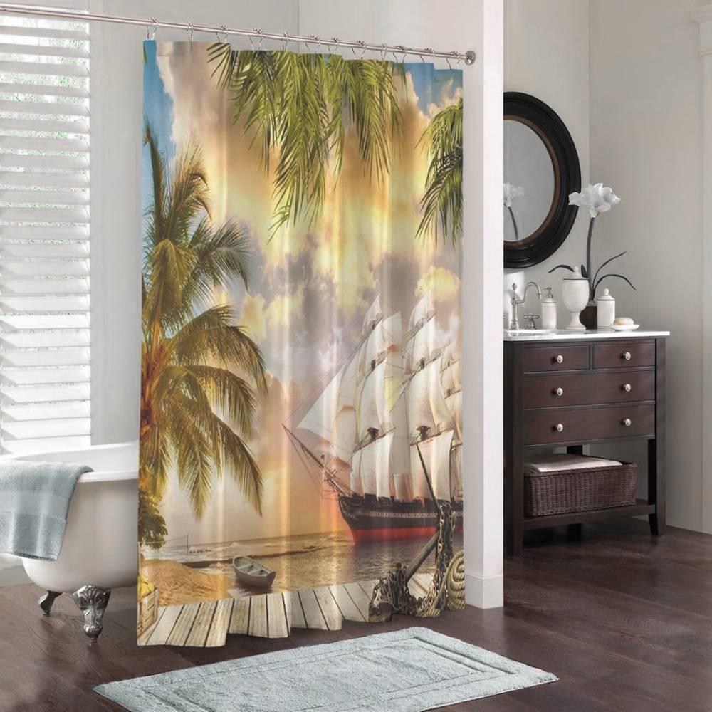 3D штора в ванную «Парусник у причала» вид 3