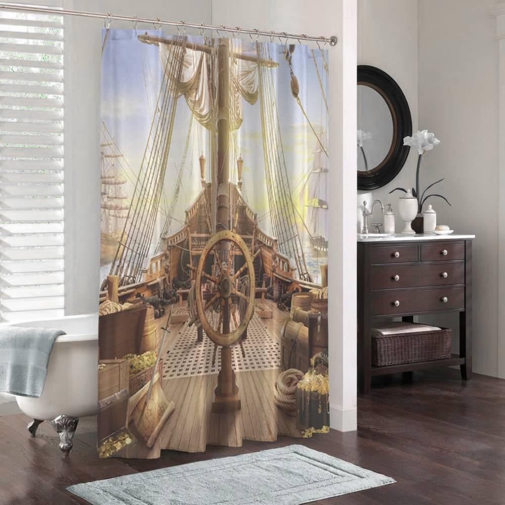 3D шторка для ванны «Пиратский корабль» вид 3