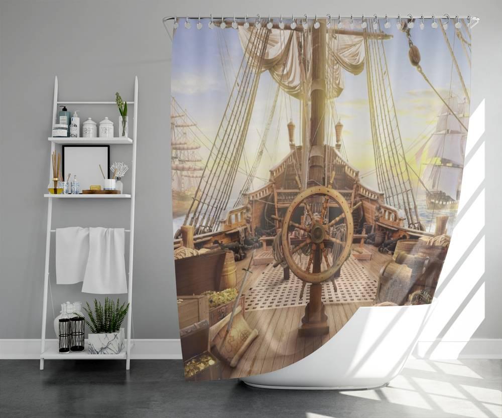 3D шторка для ванны «Пиратский корабль» вид 5