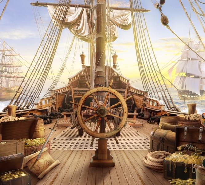 3D шторка для ванны «Пиратский корабль» вид 2