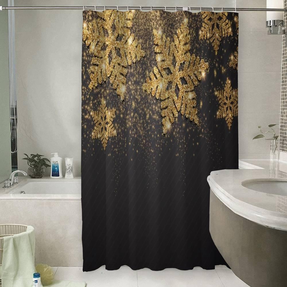 Шторы для ванной «Композиция с золотыми снежинками»