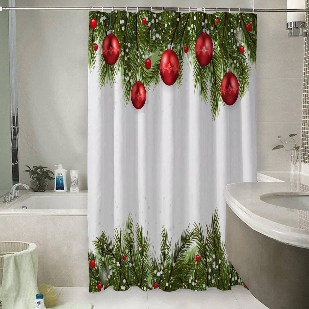 Шторы для ванной «Красные игрушки на еловых ветках»