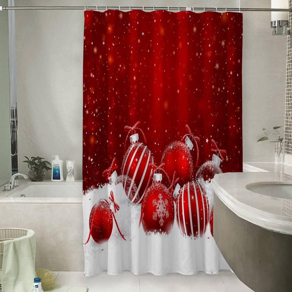 Шторы для ванной «Красные новогодние шарики»