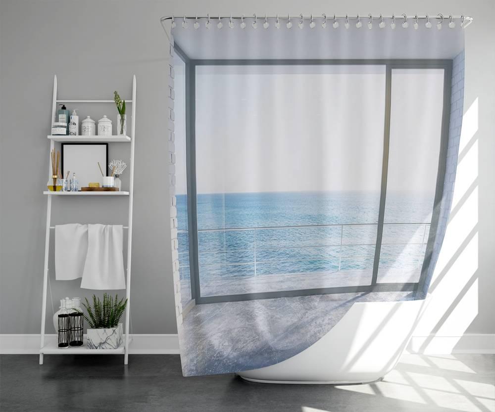 3D штора в ванную «Окно-терраса» вид 2