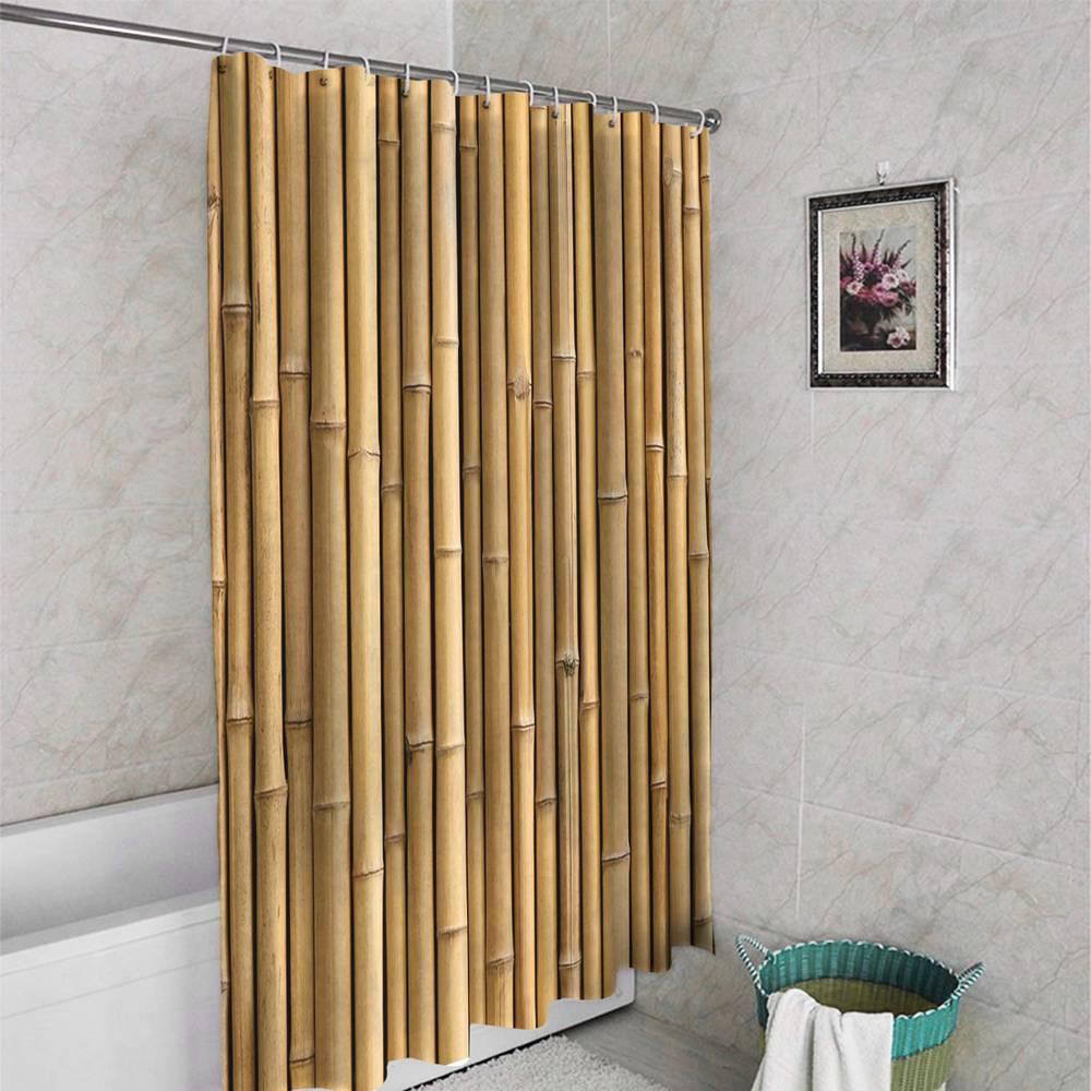 3D шторка для ванной «Бамбуковая стена» вид 4