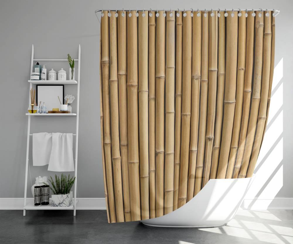 3D шторка для ванной «Бамбуковая стена» вид 5
