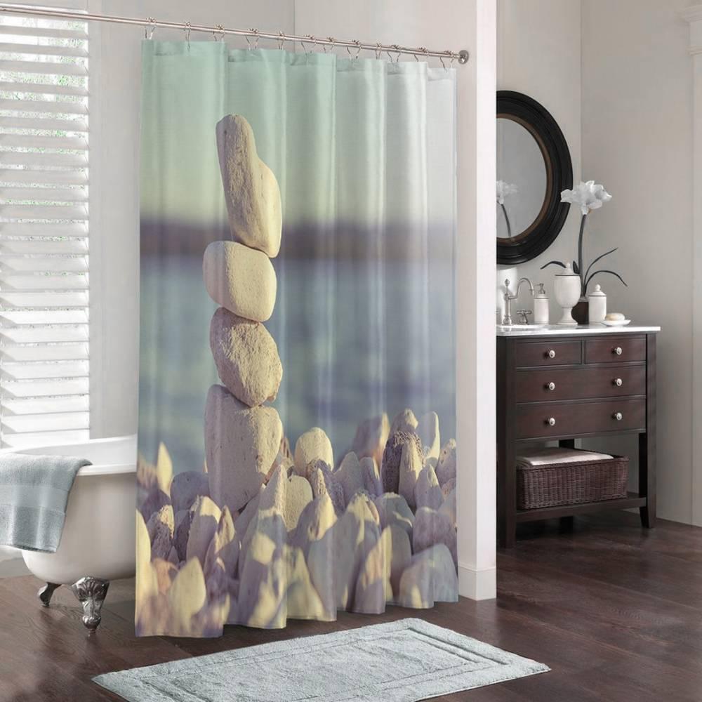 3D фото занавеска для ванной «Камни на берегу» вид 3
