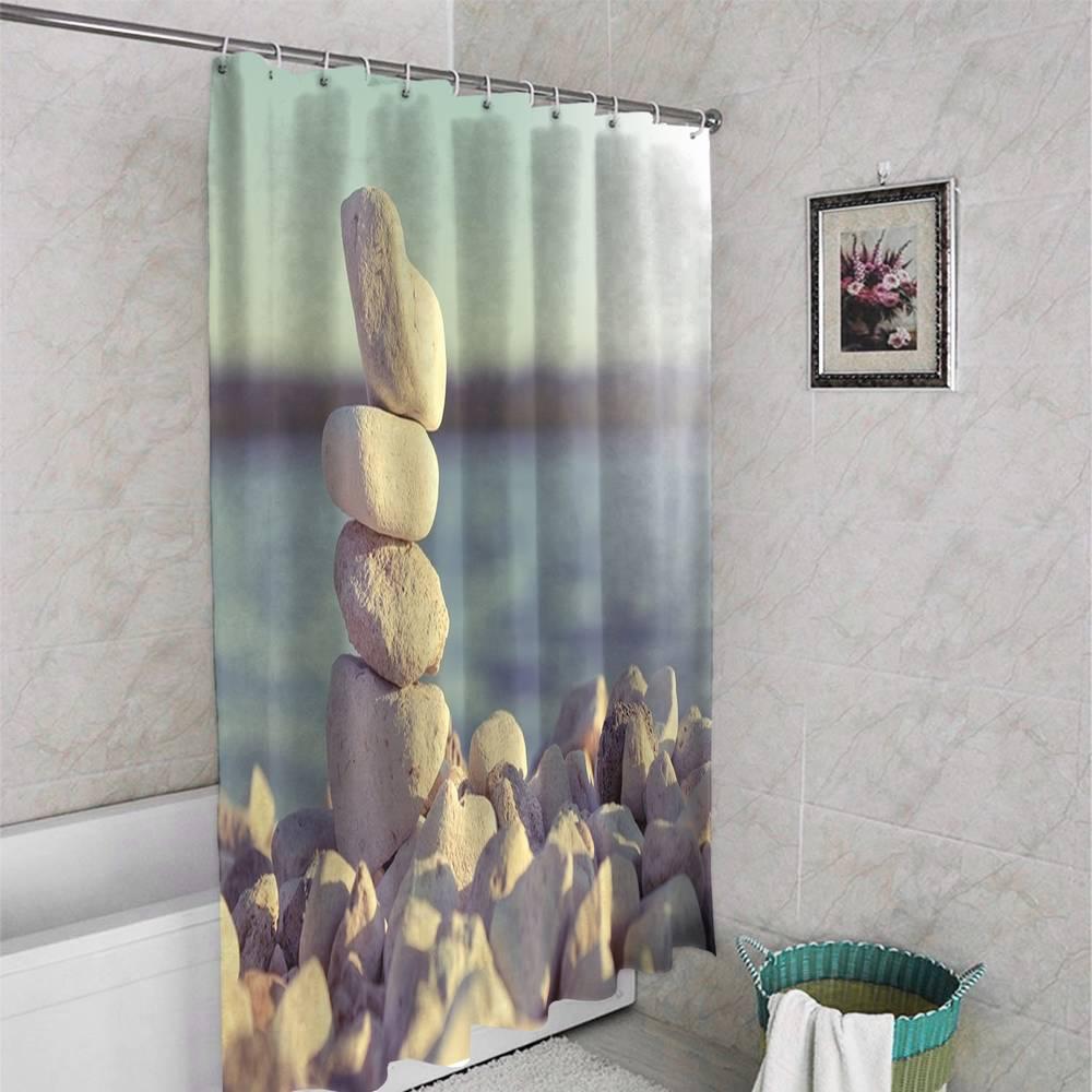 3D фото занавеска для ванной «Камни на берегу» вид 4