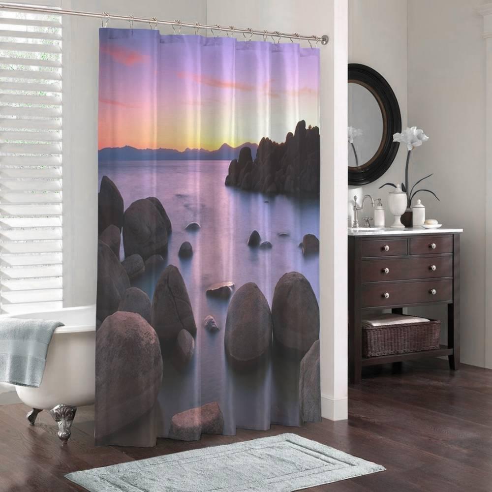 3D штора для ванны «Камни на закате» вид 3