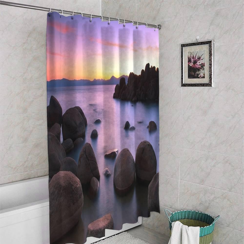 3D штора для ванны «Камни на закате» вид 4