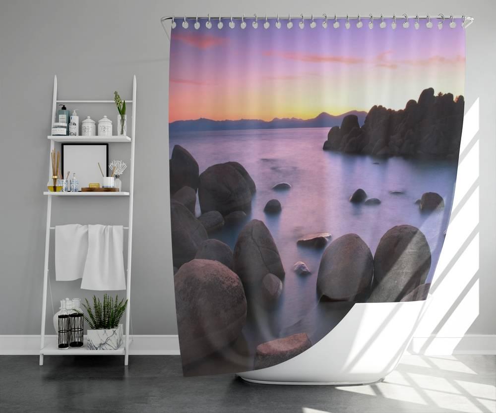 3D штора для ванны «Камни на закате» вид 5