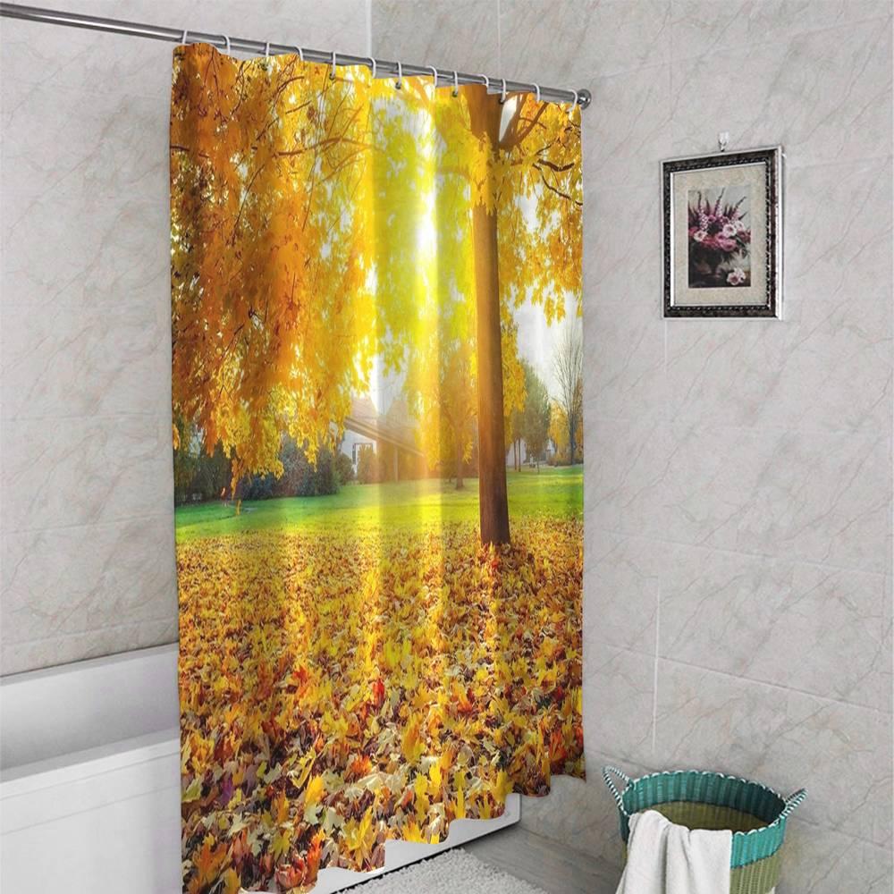 3D занавеска для ванной «Лес осенью» вид 4