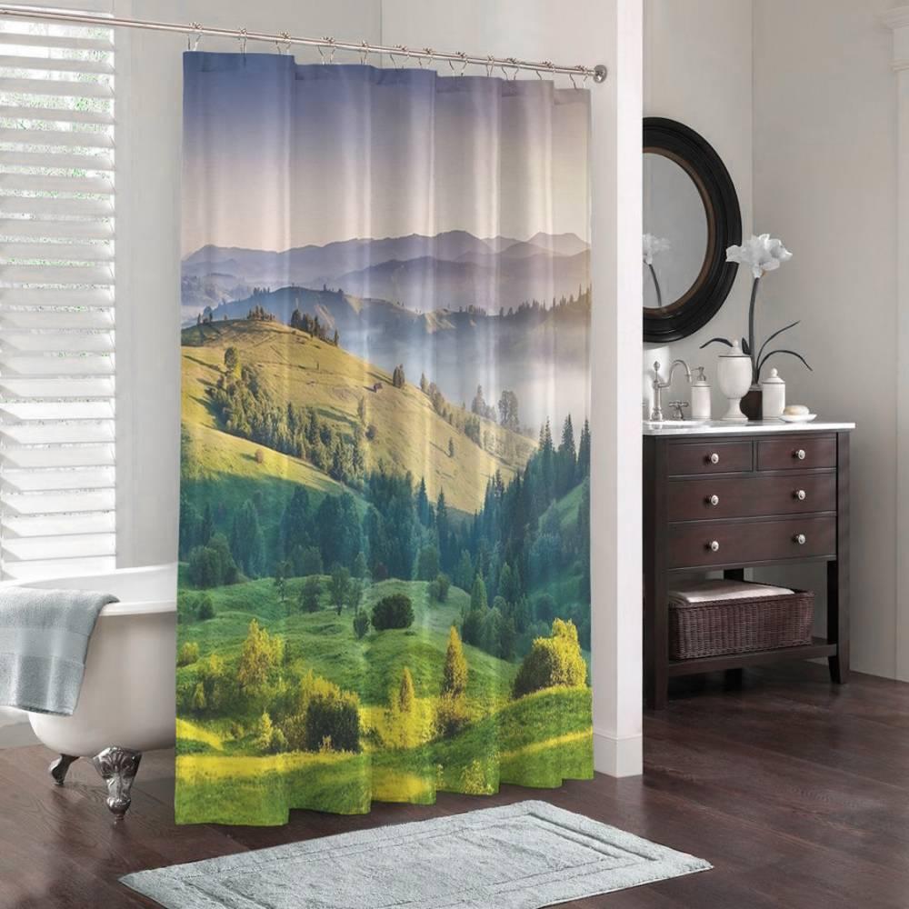 3D занавеска для ванной «Альпийский луг» вид 3
