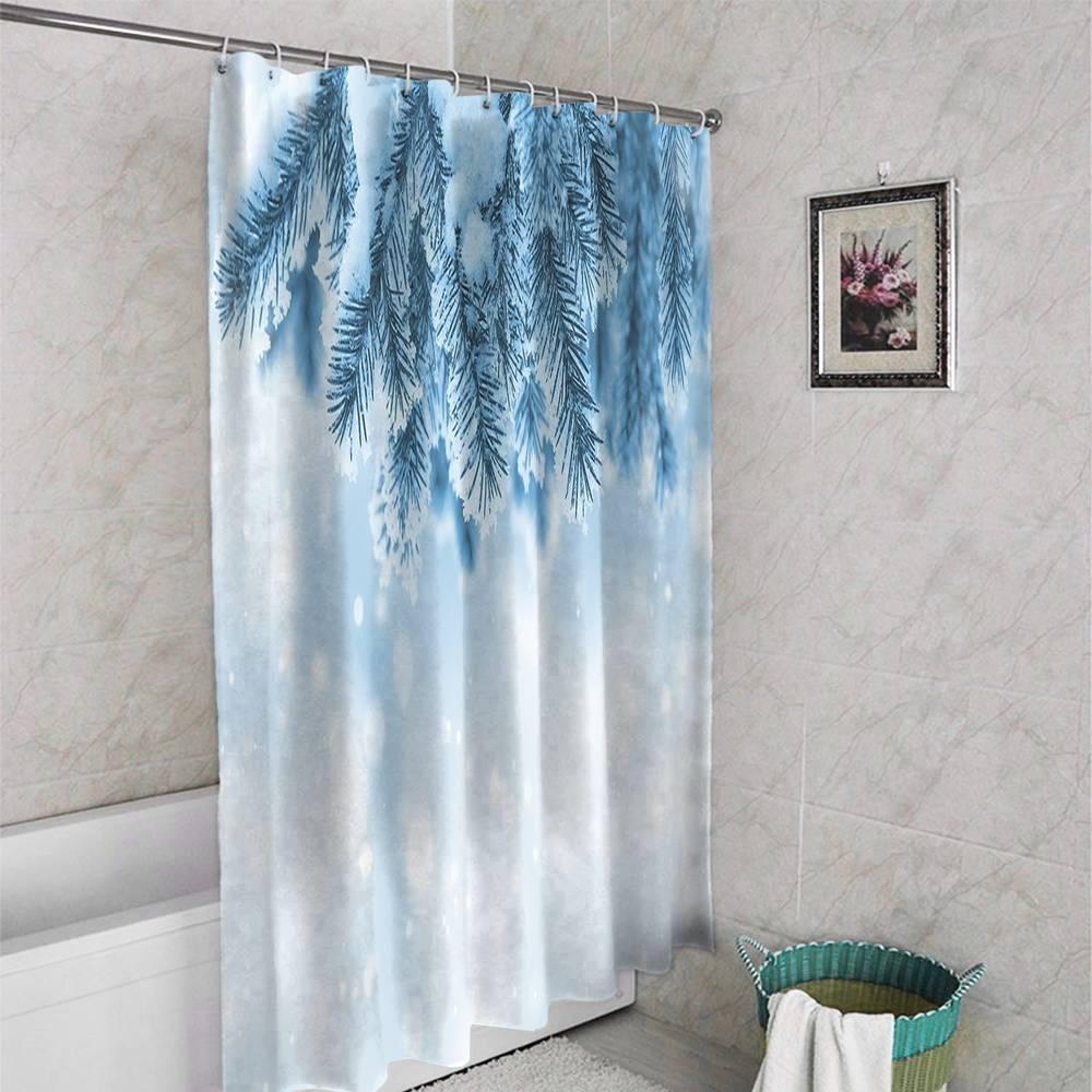 3D штора для ванной «Ветка ели в снегу» вид 4