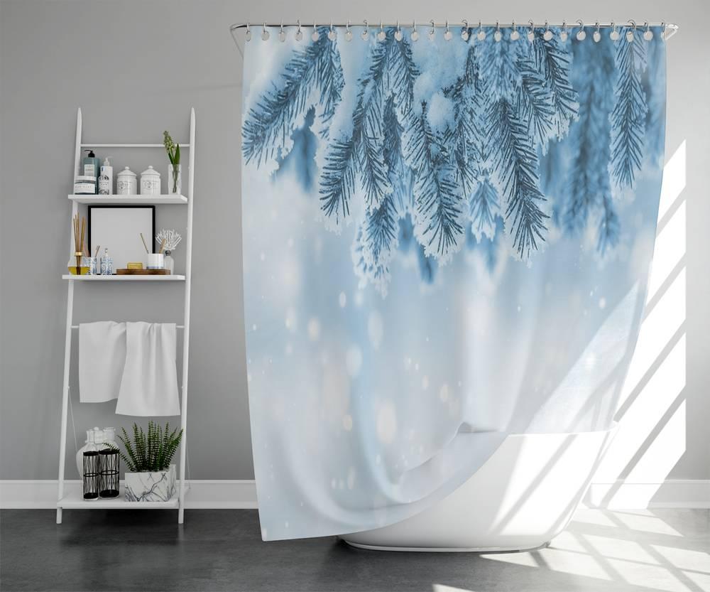 3D штора для ванной «Ветка ели в снегу» вид 5