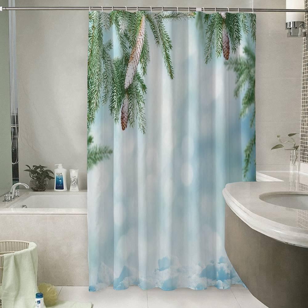 Шторы для ванной «Еловые ветви с шишками»