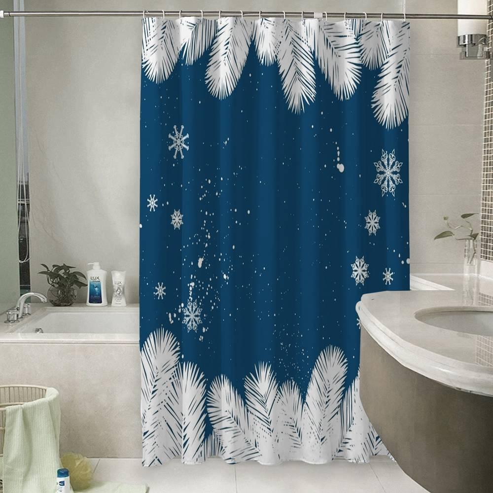 Шторы для ванной «Снежные еловые ветви»