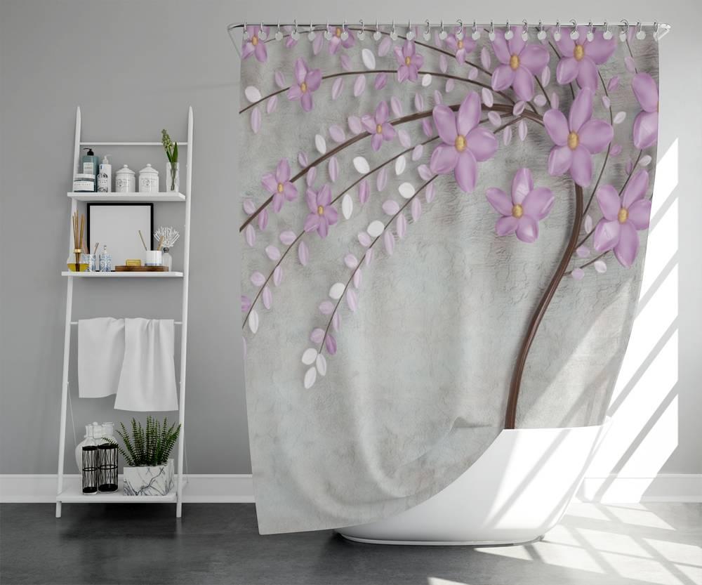 3D штора в ванную комнату «Весенняя сакура» вид 5