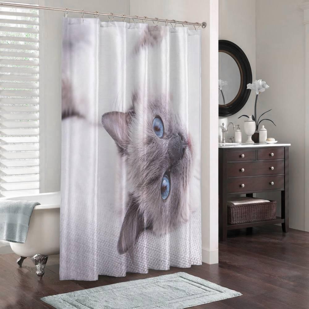 Штора для ванной «Голубоглазая кошка» вид 3
