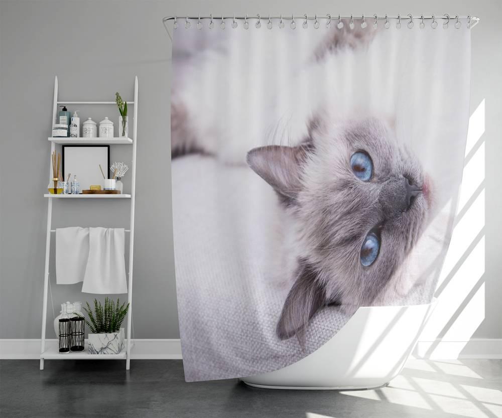 Штора для ванной «Голубоглазая кошка» вид 5