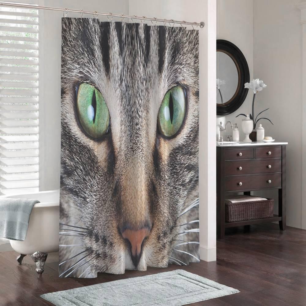 3D фотоштора для ванной «Кошачий взгляд» вид 3