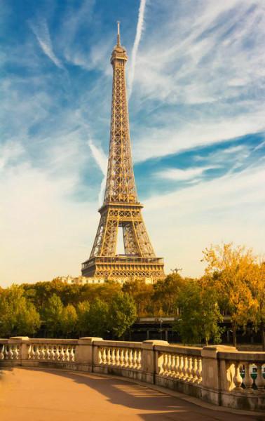 3D Фотообои «Вид с набережной на Эйфелеву башню»