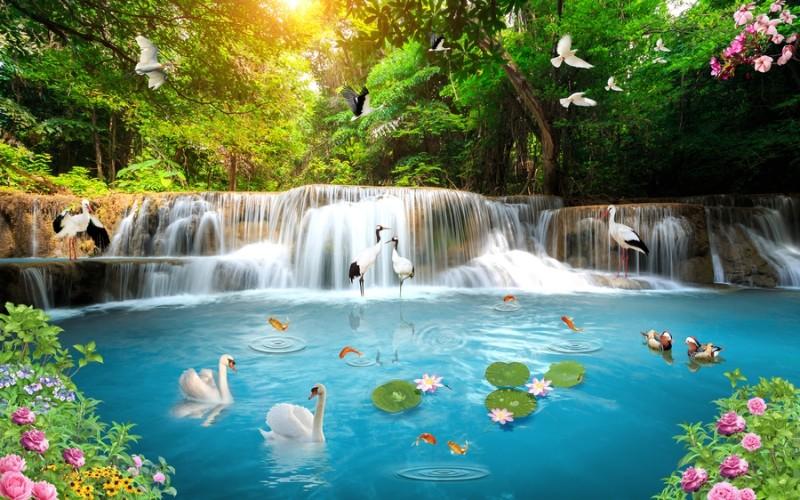 3D Фотообои «Благоухающий водопад»