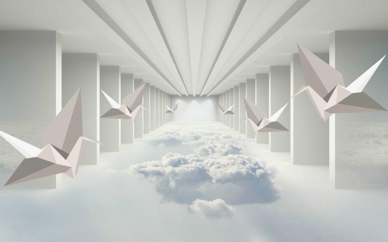 3D Фотообои «Инсталляция с журавлями оригами»