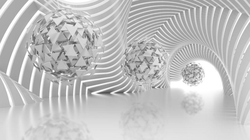 3D Фотообои «Абстрактная композиция со сферами из треугольников»
