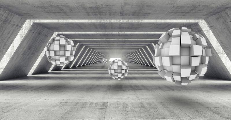 3D Фотообои 3D Фотообои «Футуристичный ангар с парящими сферами»