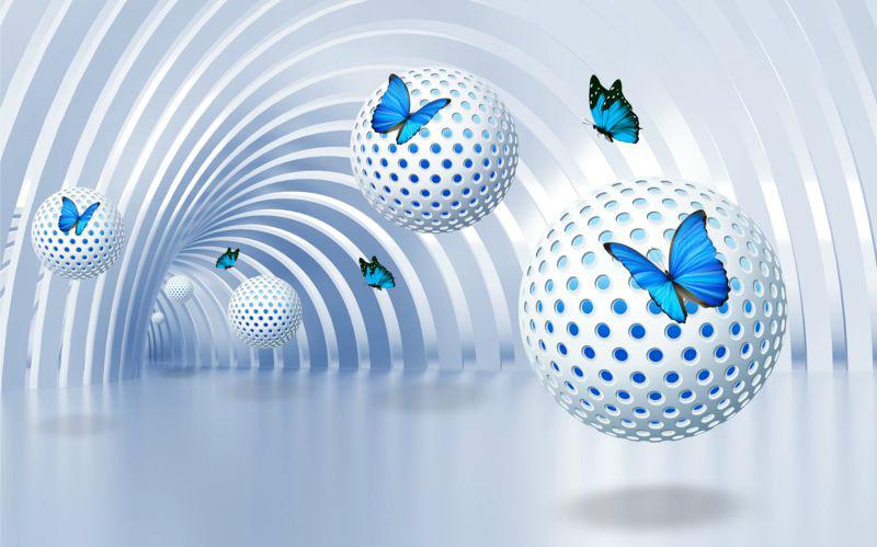 3D Фотообои 3D Фотообои «Футуристичный тоннель с бабочками»