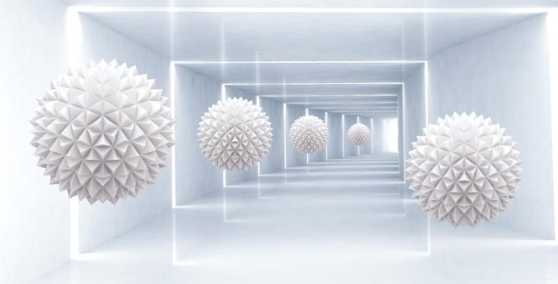 3D Фотообои 3D Фотообои «Шары оригами в светлом тоннеле»
