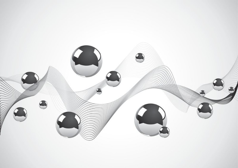 3D Фотообои «Волны из линий с шарами»