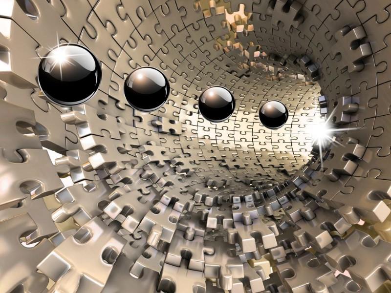 3D Фотообои 3D Фотообои «Шары в тоннеле из пазла»