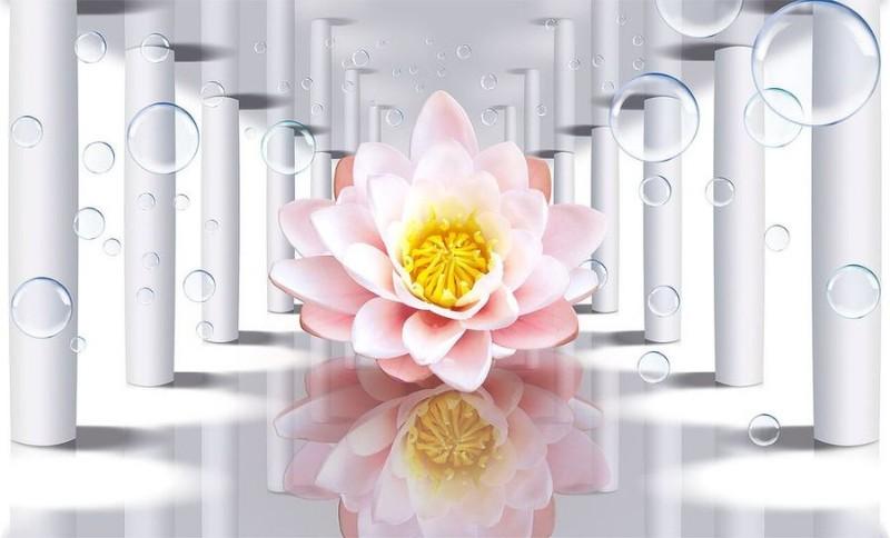 3D Фотообои «Лотос в зеркальном тоннеле»