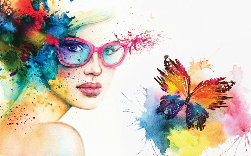 3D Фотообои 3D Фотообои «Девушка с бабочкой»