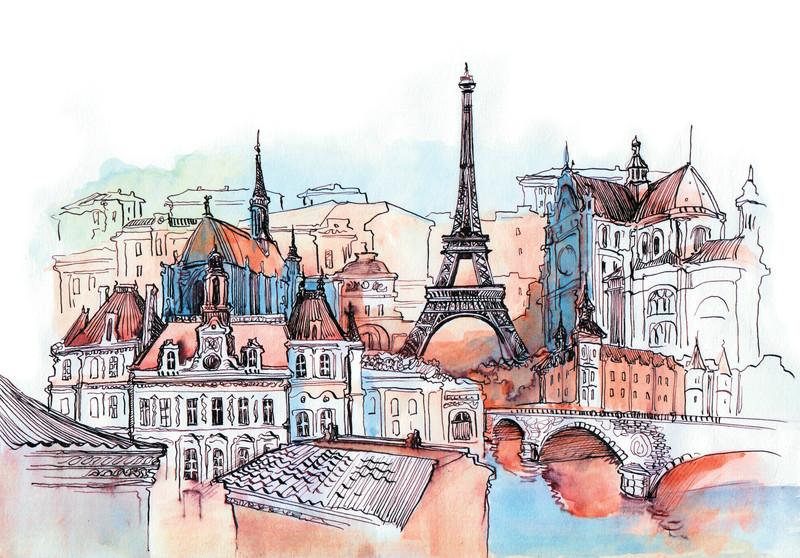 3D Фотообои 3D Фотообои «Париж акварелью»