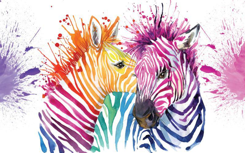 3D Фотообои 3D Фотообои «Акварельные зебры»